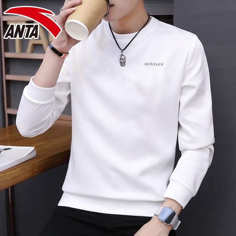 安踏长袖T恤男装卫衣套头衫2019春季新款圆领保暖打底休闲运动服