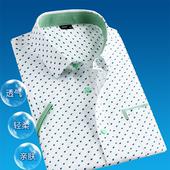 2018新款男短袖 夏季新款青年韩版休闲修身男装波点短袖衬衫潮