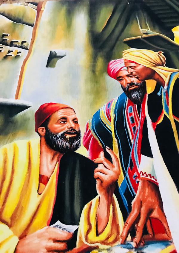 现货一款 好货 埃及画家手绘 深棕色纸莎草画 老哈里里集市 90cm