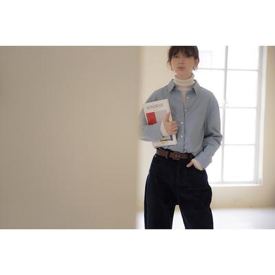 果核宇宙 19SS 蓝色/白色 法式两穿袖口宽松长袖衬衫