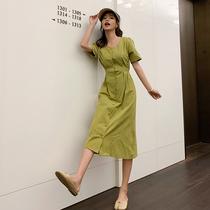 大码牛油果绿连衣裙夏季新款抹茶绿小清新显瘦胖mm法式遮肚长裙子
