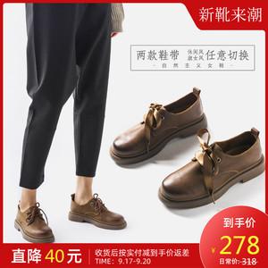 日系黑色小皮鞋女秋季学院风女鞋复古英伦风真皮单鞋女平底制服鞋