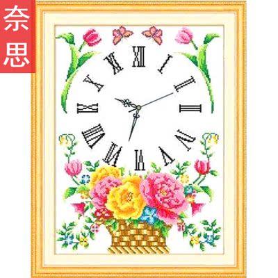 十字绣带钟表时间绣的线锈客厅挂钟创意新款棉线针绣全绣闹钟夜光