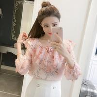 2018秋季新款韩版七分袖碎花雪纺衬衫蝴蝶结系带娃娃领减龄上衣女