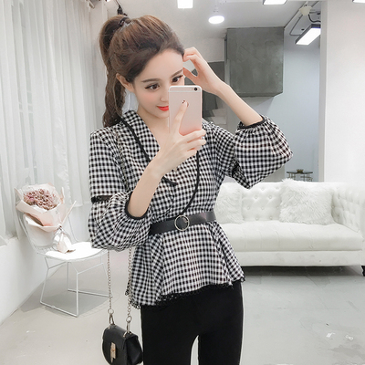 韩版七分袖格子衬衣