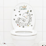 Creative funny wall stickers Pegasus Unicorn personality bathroom toilet toilet stickers waterproof self-adhesive paper stickers