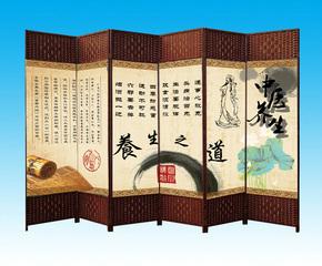 中医养生按摩美容院屏风布艺现代简约中式折叠移动双面隔断墙玄关