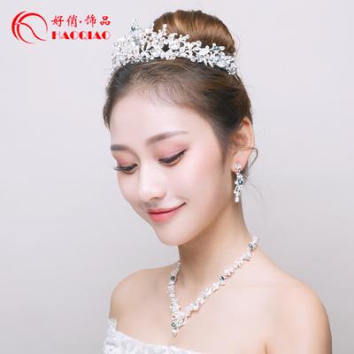 新娘项链耳环皇冠头饰三件套婚纱礼服拍照配饰韩式新款结婚首饰品