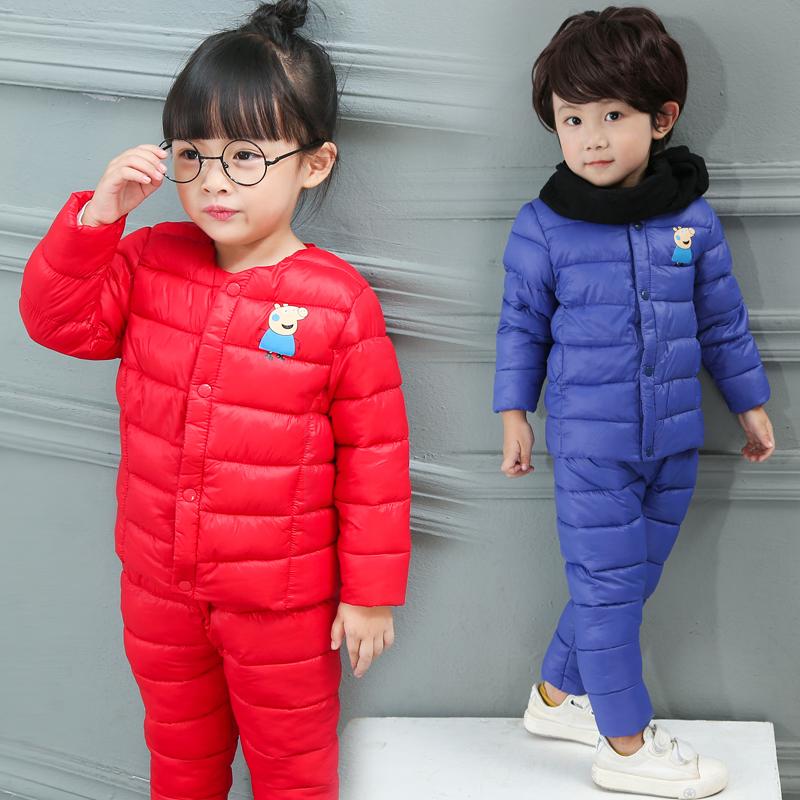 2018新款儿童羽绒棉服中小童轻薄羽绒棉套装秋冬新款婴幼儿套装潮
