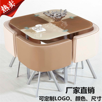 Indoor modern simple business reception glass creative coffee table casual coffee tables and chairs a table four-chair combination set