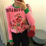粉色花朵毛衣