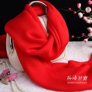 百搭大红色杭州桑蚕丝围巾纯色女长款真丝丝巾纱巾春秋冬夏季披肩
