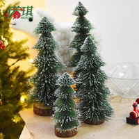 Noki Pine Needle Christmas Tree Mini Desktop Decoration Small Decoration Small Household Falling Snow Flocking Tree Pagoda Cedar