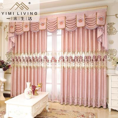 一米欧式田园定制窗帘布客厅卧室飘窗落地窗遮光成品绣花窗纱布帘