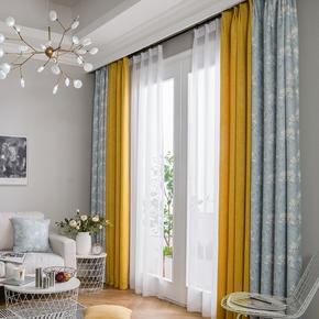 2018新款窗帘遮光卧室雪尼尔拼接窗帘成品简约现代客厅平面窗帘布