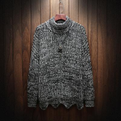 毛衣男秋冬季潮流日系复古半高领加厚线衫韩版男士线衣宽松针织衫