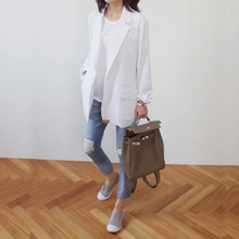 Flax small suit women's new cotton and flax thin suit mid-long leisure long sleeve jacket in spring 2018
