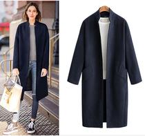 新款毛呢外套女2018秋冬季韩版立领中长款宽松无扣大码呢子大衣女