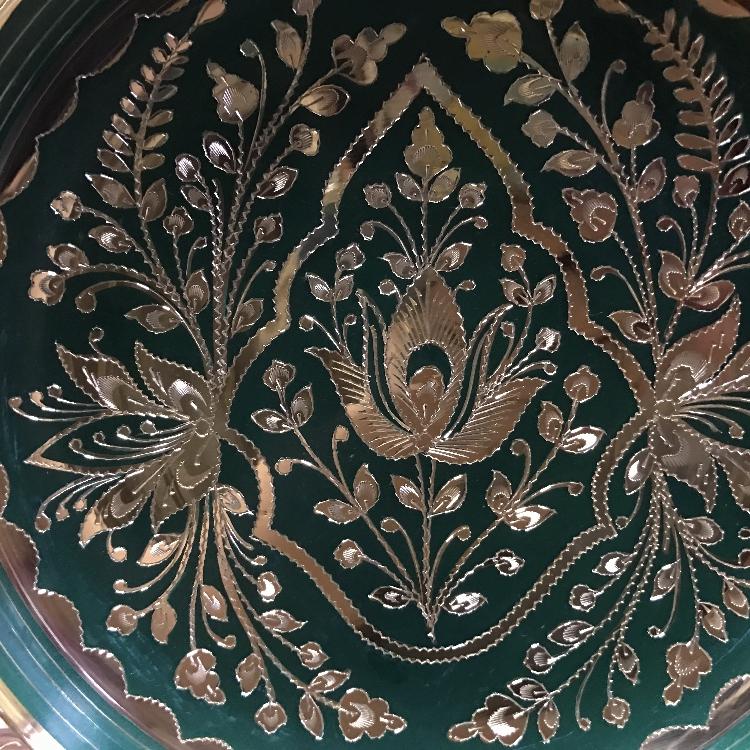 精美挂盘 巴基斯坦家居餐厅装饰品工艺品摆件10寸绿色烤漆盘