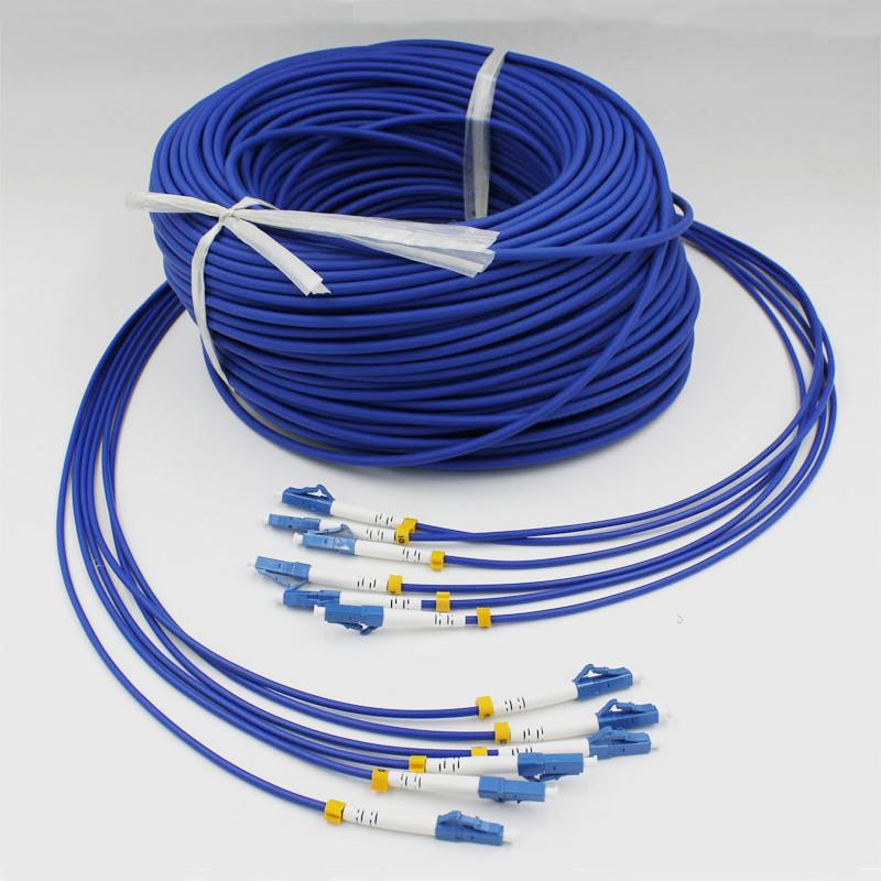 60米LC-LC单模6芯铠装光纤跳线单模六芯铠甲尾纤钢丝保护防鼠咬