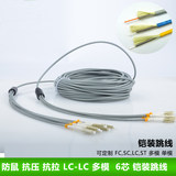 LC-LC 50 m core multimode 6 armored fiber optic jumper six core multimode pigtail wire armor protection rodent