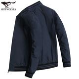 七匹狼夹克 男士棒球服外套春装新款青中年商务休闲男装上衣 1808