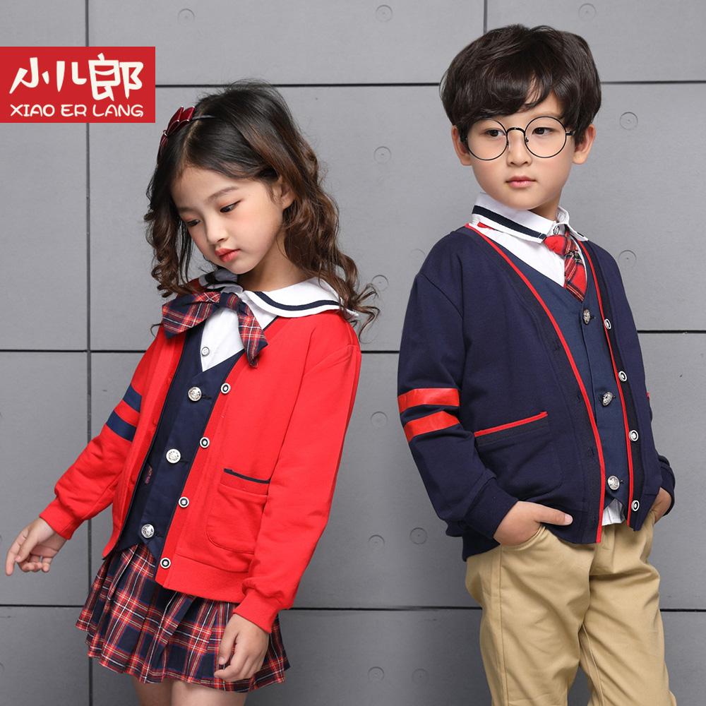 小儿郎童装秋季中小童学院风休闲校服外套男女童短款开衫单排扣