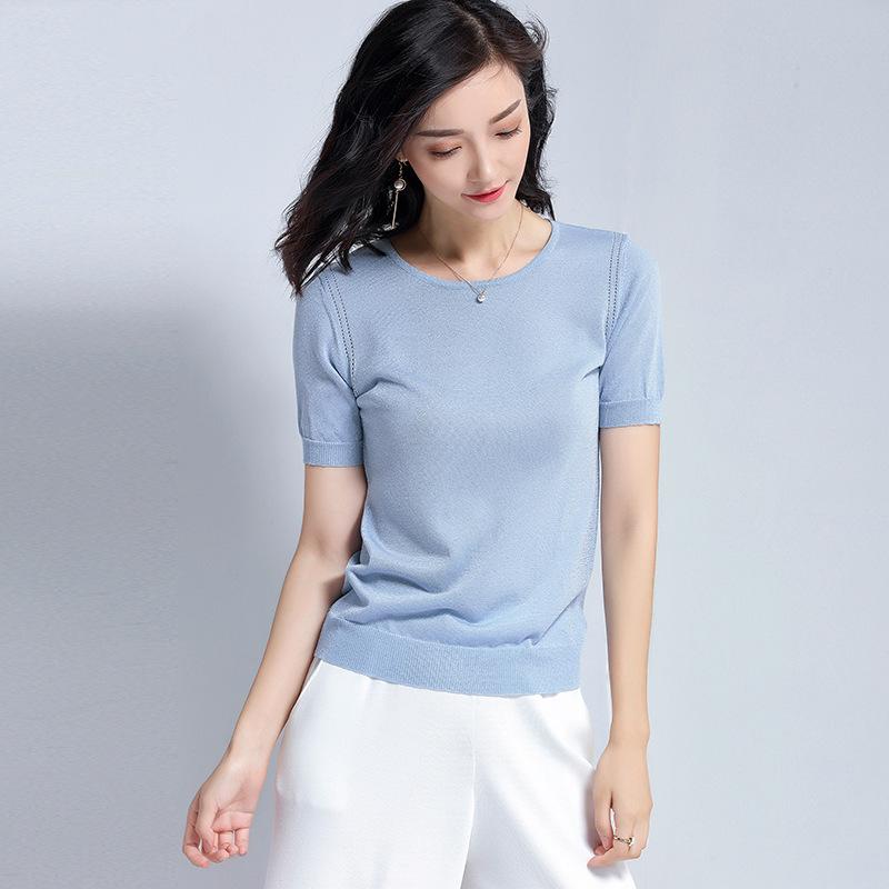 2018夏季天丝针织衫女装套头纯色百搭短袖圆领薄款T恤打底上衣