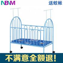 品牌婴儿床铁无味儿童宝宝床BB可拼接带蚊帐带滚轮多功能环保铁艺