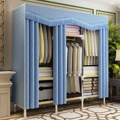 布衣柜钢管加粗加固组装简易布艺不锈钢架实木多挂双人橱美式衣柜