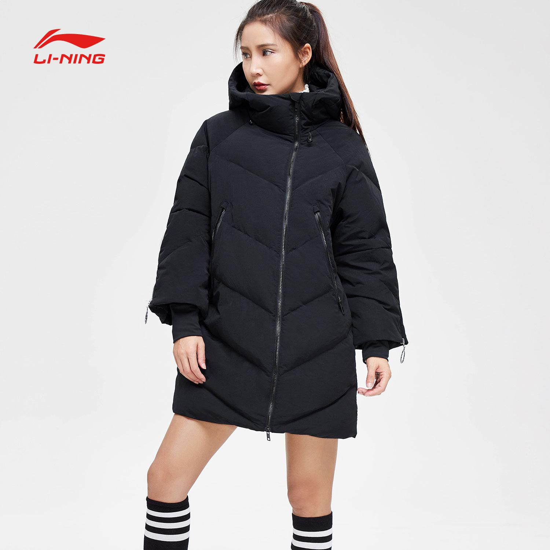 李宁长款羽绒服女新款BAD FIVE篮球系列保暖连帽冬季灰鸭绒运动服