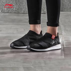 李宁休闲鞋女鞋新款透气耐磨一体织袜子鞋小黑鞋低帮春秋季运动鞋