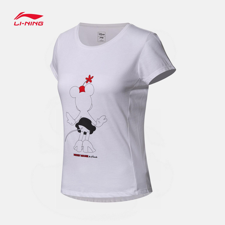 李宁迪士尼米奇联名款短袖T恤女士2018新款运动衣运动服AHSN708