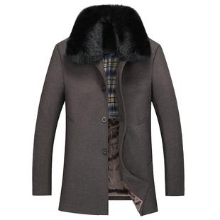 秋冬中老年男士羊毛呢大衣大码翻领爸爸毛呢外套中年加厚毛呢风衣