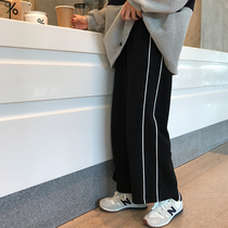 Xin Gang to help homemade 2018 striped wide-legged pants sweatpants tight high waist loose straight cylinder casual pants pants