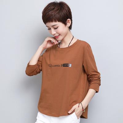 中年春装印花纯棉长袖t恤女中老年人妈妈装40-50岁宽松打底衫上衣