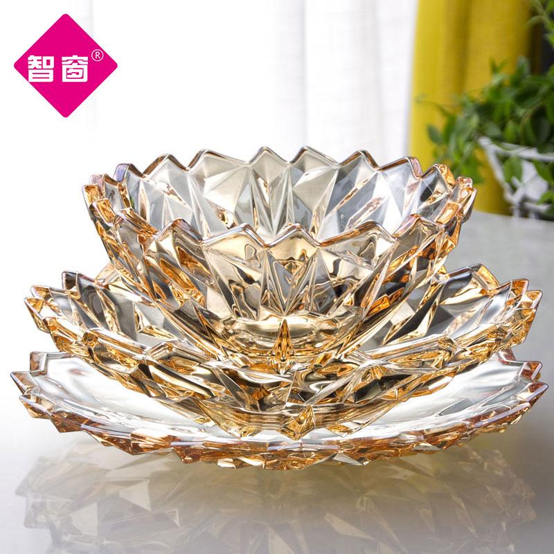 北欧风格大号水晶玻璃果盘零食盘家用客厅水果盘糖果盘干创意现代