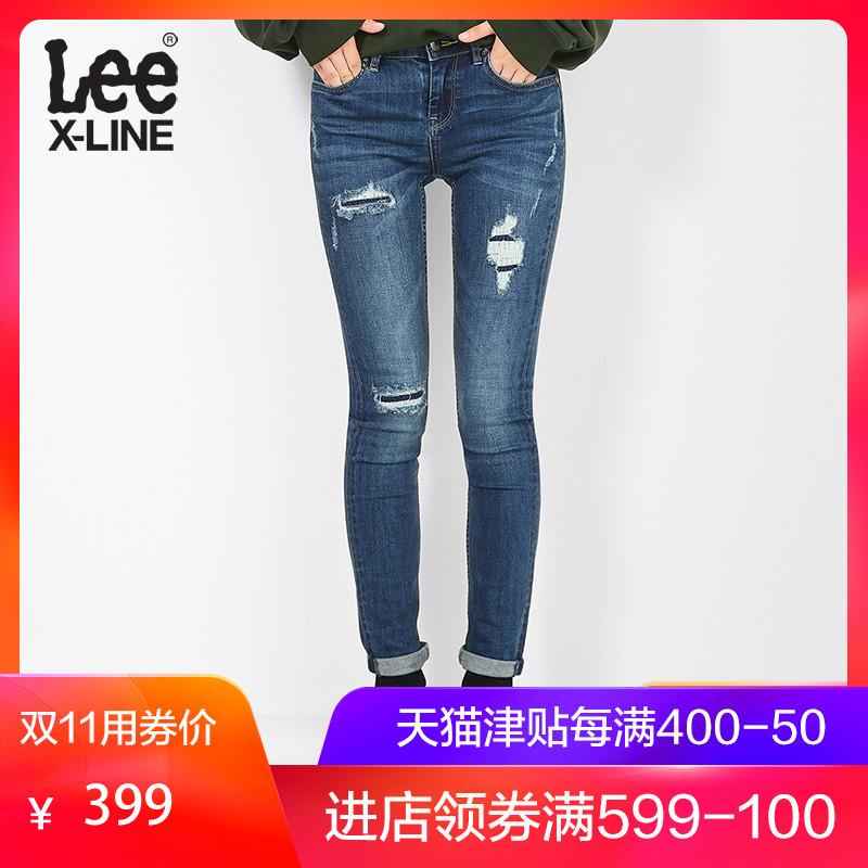 Lee女款蓝色贴身小脚水牛仔裤新款L124002MH8UE,牛仔裤女款