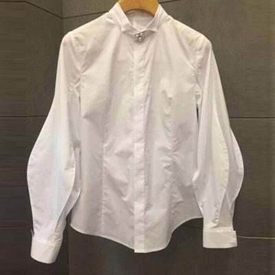 韩国东大门春秋装时尚灯笼袖白衬衫女长袖领口钉珍珠气质立领衬衣