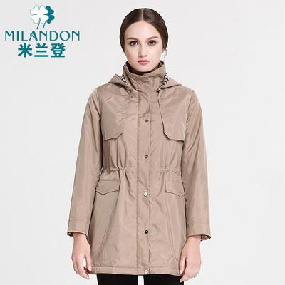 米兰登 中老年女装秋冬棉衣外套 妈妈装中长款修身棉风衣WI480006