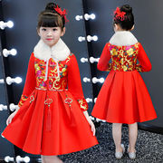 Girls cheongsam winter plus velvet dress princess dress Chinese style new year baby baby New Year clothing winter children's clothing
