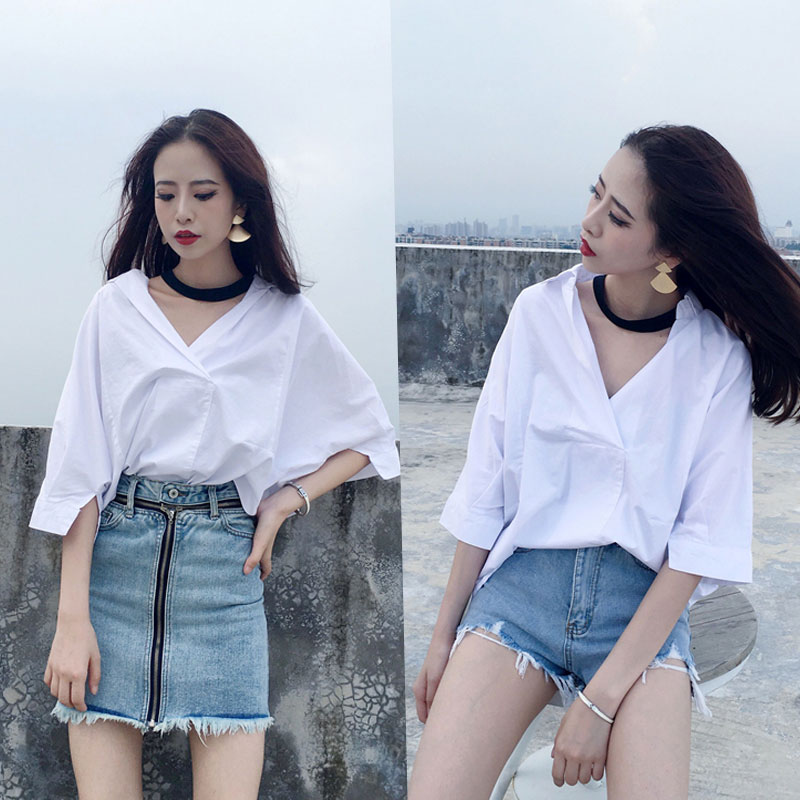 2018 summer new OL temperament wild solid color short-sleeved shirt female Korean version wide