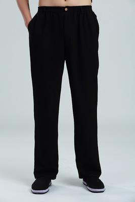 中老年春秋男装中式长裤70-80岁老人宽松高腰直筒裤子爷爷棉麻裤