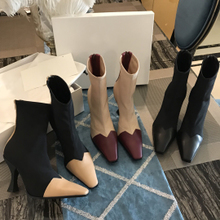 Chelsea boots, cats and heels matching color leather socks, boots, high heels and tobacco boots