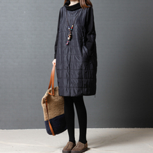 Shiyan cotton female autumn and winter new 2018 Korean version of the loose large size women's fashion high collar quilted long-sleeved dress