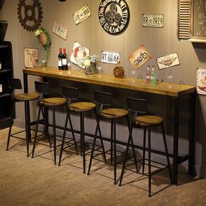 星巴克铁艺实木家用吧台桌咖啡厅桌酒吧桌椅现代简约高脚靠墙长桌
