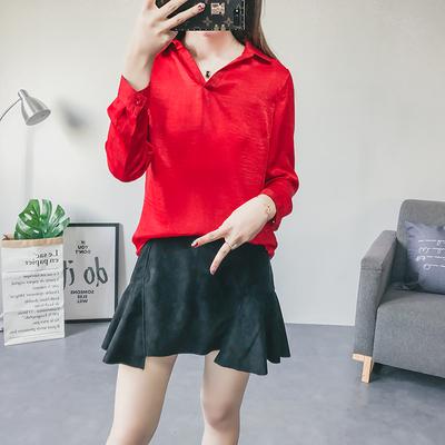 J71 夏季新款韩版宽松百搭上衣前短后长时尚V领气质衬衫女