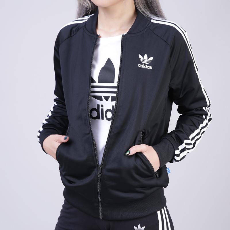 阿迪达斯三叶草女装经典外套2018秋冬款针织运动服棒球服上衣夹克