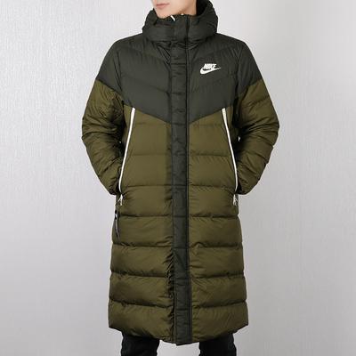 Nike耐克棉服男款2019春季款保暖运动中长款连帽棉衣羽绒服外套