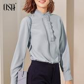 女时尚 秋宽松洋气小衫 气质职业装 雪纺衬衫 OSA欧莎长袖 2019新款图片